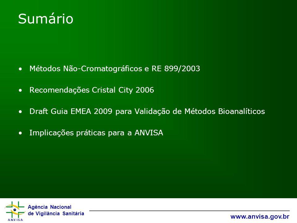 Agência Nacional de Vigilância Sanitária www.anvisa.gov.br Sumário Métodos Não-Cromatográficos e RE 899/2003 Recomendações Cristal City 2006 Draft Guia EMEA 2009 para Validação de Métodos Bioanalíticos Implicações práticas para a ANVISA
