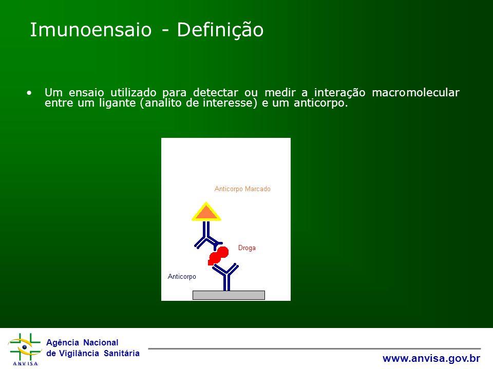 Agência Nacional de Vigilância Sanitária www.anvisa.gov.br Imunoensaio - Definição Um ensaio utilizado para detectar ou medir a interação macromolecul