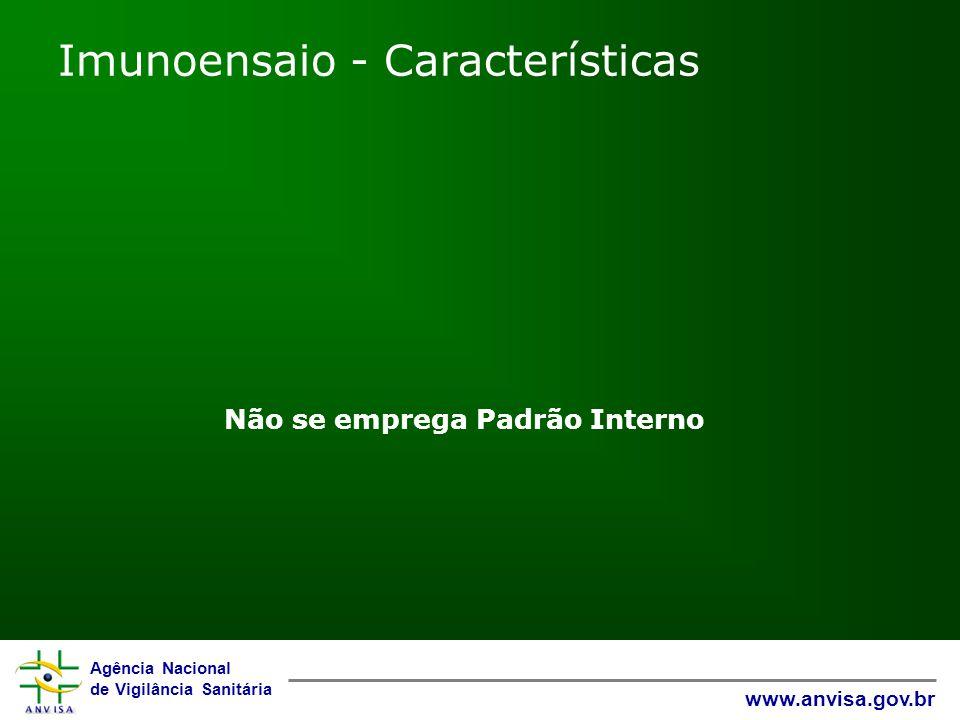 Agência Nacional de Vigilância Sanitária www.anvisa.gov.br Imunoensaio - Características Não se emprega Padrão Interno