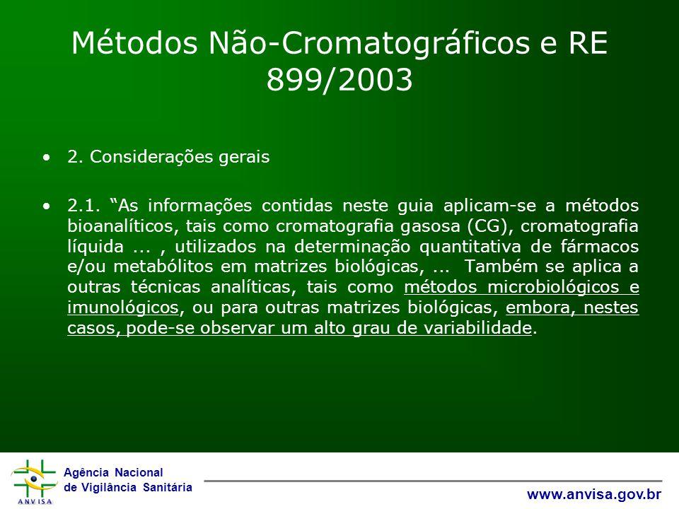 Agência Nacional de Vigilância Sanitária www.anvisa.gov.br Métodos Não-Cromatográficos e RE 899/2003 2. Considerações gerais 2.1. As informações conti