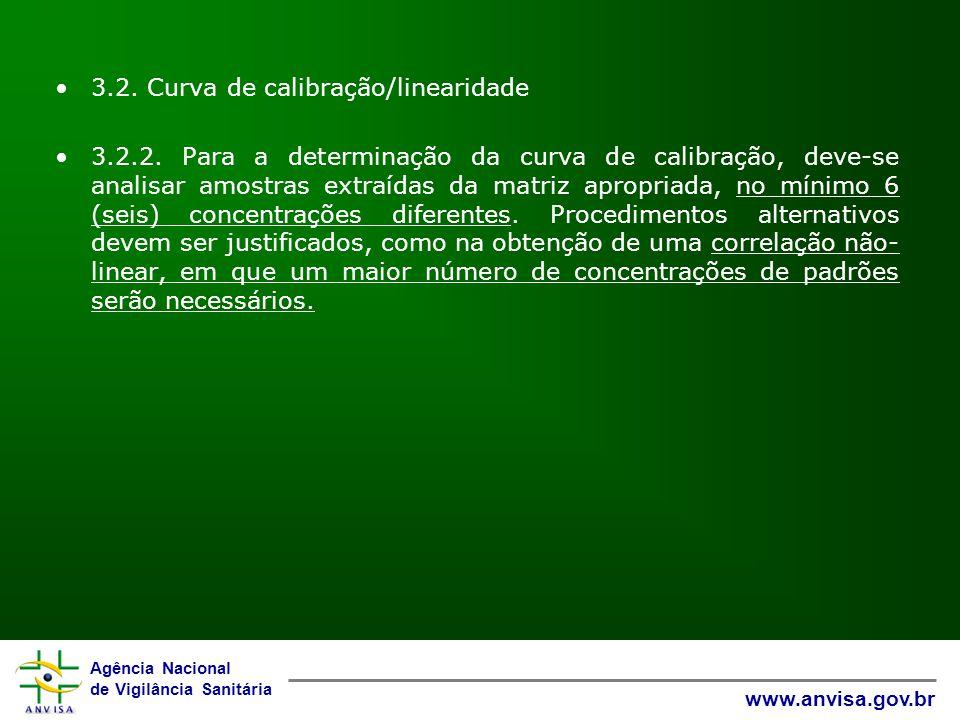 Agência Nacional de Vigilância Sanitária www.anvisa.gov.br 3.2. Curva de calibração/linearidade 3.2.2. Para a determinação da curva de calibração, dev