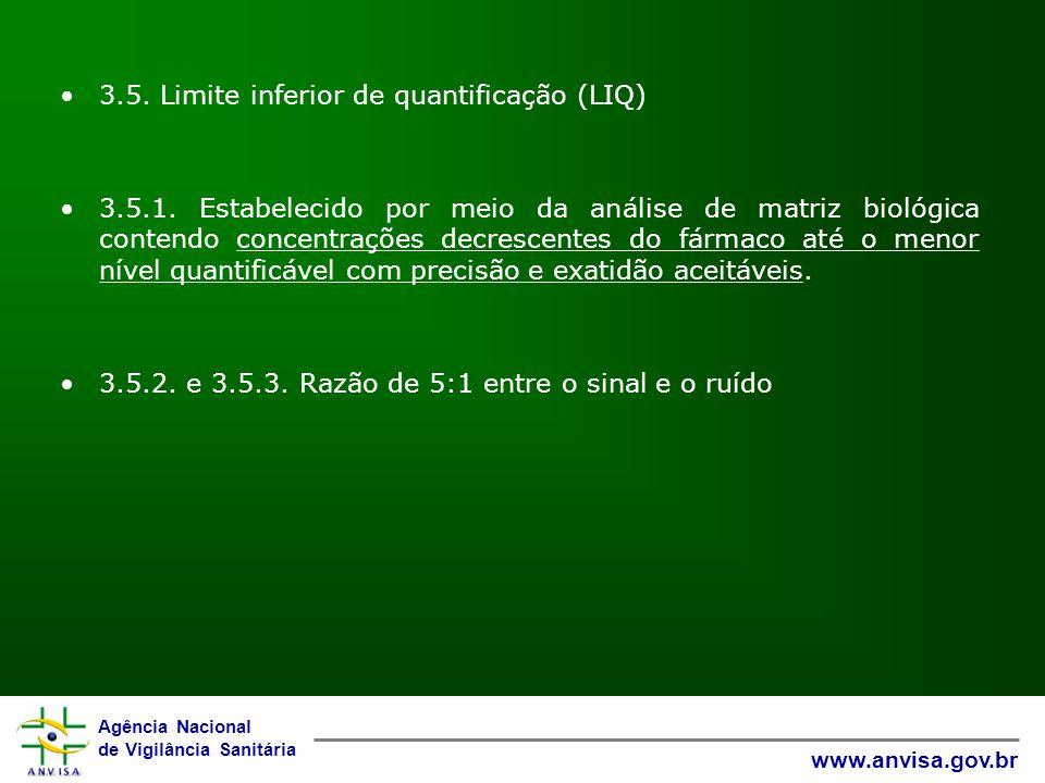 Agência Nacional de Vigilância Sanitária www.anvisa.gov.br 3.5. Limite inferior de quantificação (LIQ) 3.5.1. Estabelecido por meio da análise de matr