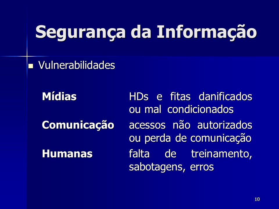 10 Segurança da Informação Vulnerabilidades Vulnerabilidades MídiasHDs e fitas danificados ou mal condicionados Comunicaçãoacessos não autorizados ou