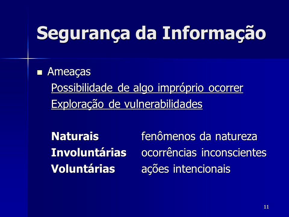 11 Segurança da Informação Ameaças Ameaças Possibilidade de algo impróprio ocorrer Exploração de vulnerabilidades Naturais fenômenos da natureza Invol