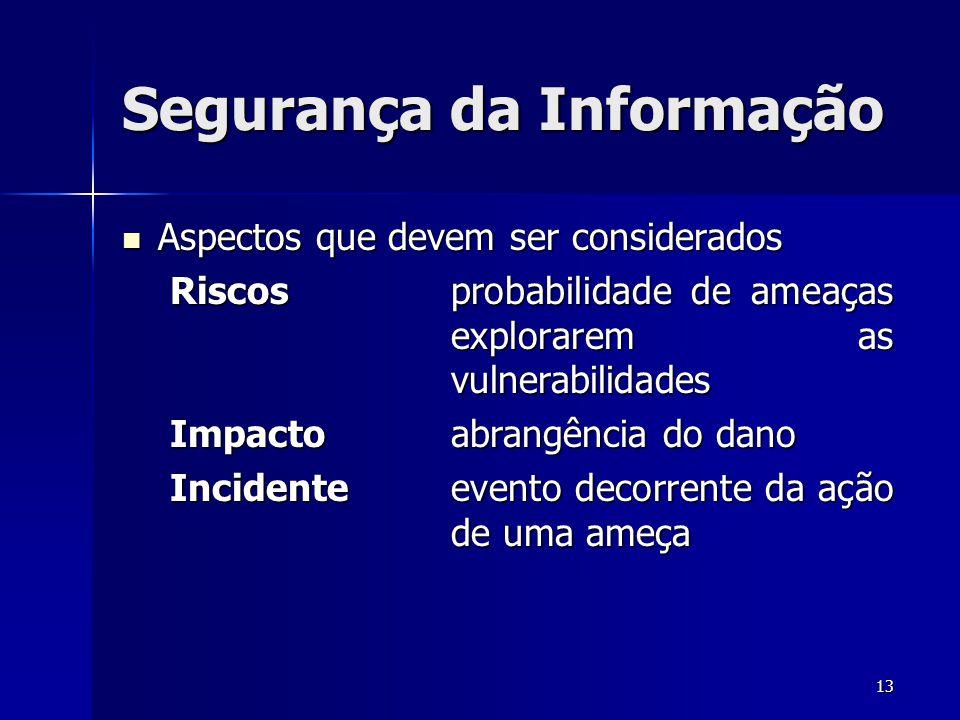 13 Segurança da Informação Aspectos que devem ser considerados Aspectos que devem ser considerados Riscosprobabilidade de ameaças explorarem as vulner