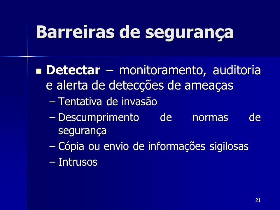 21 Barreiras de segurança Detectar – monitoramento, auditoria e alerta de detecções de ameaças Detectar – monitoramento, auditoria e alerta de detecçõ