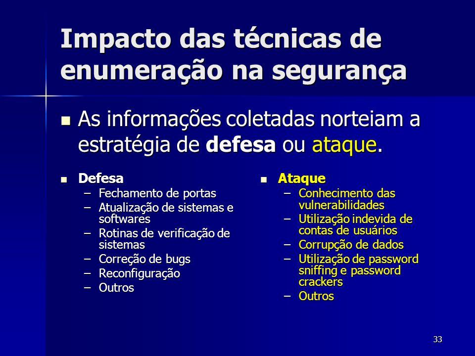 33 Impacto das técnicas de enumeração na segurança As informações coletadas norteiam a estratégia de defesa ou ataque. As informações coletadas nortei