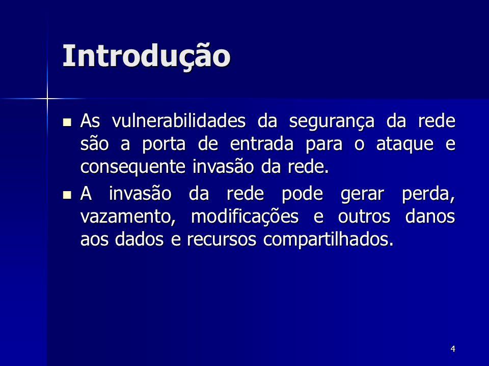 4 Introdução As vulnerabilidades da segurança da rede são a porta de entrada para o ataque e consequente invasão da rede. As vulnerabilidades da segur