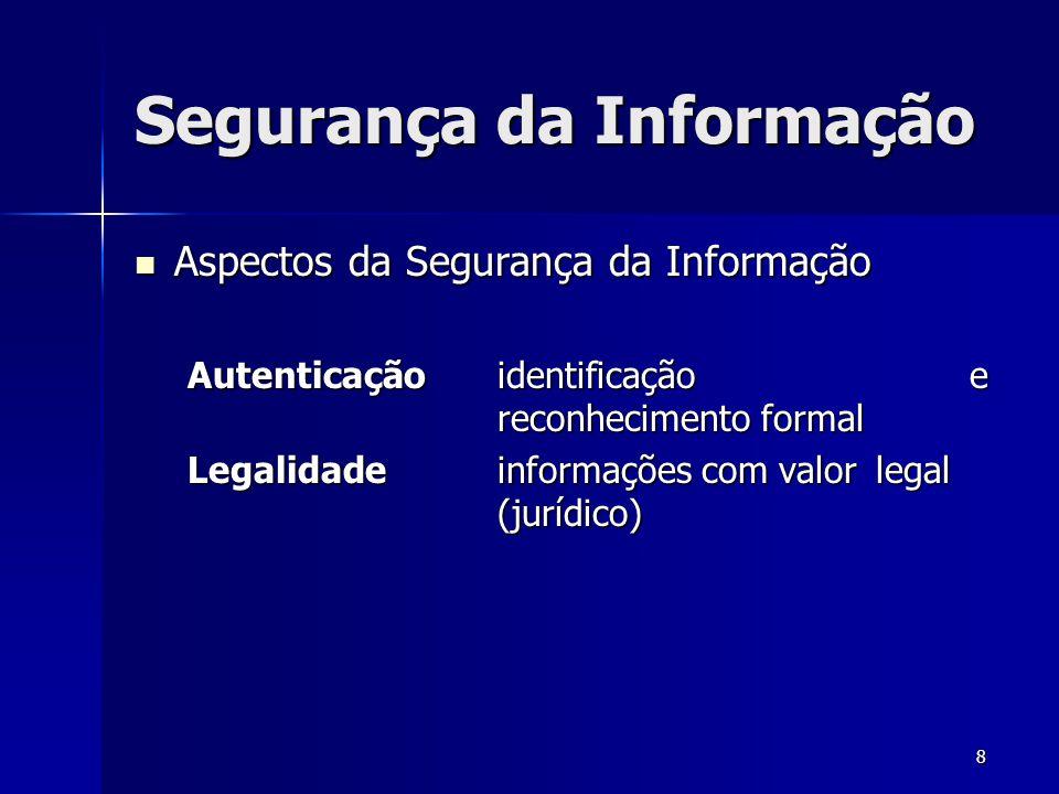 8 Segurança da Informação Aspectos da Segurança da Informação Aspectos da Segurança da Informação Autenticaçãoidentificação e reconhecimento formal Le