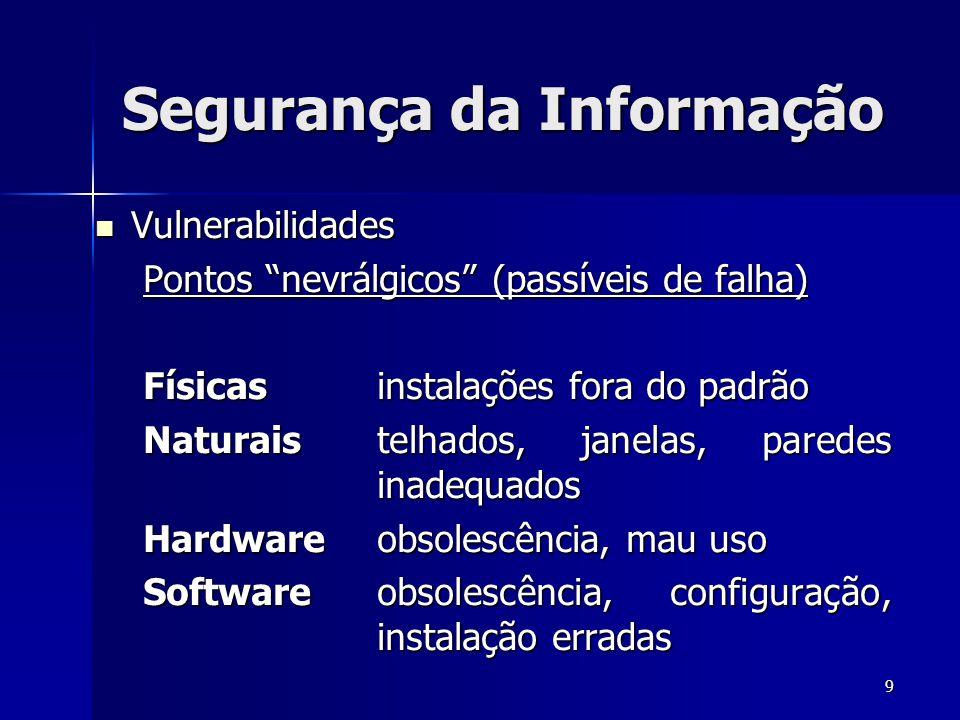 9 Segurança da Informação Vulnerabilidades Vulnerabilidades Pontos nevrálgicos (passíveis de falha) Físicas instalações fora do padrão Naturais telhad