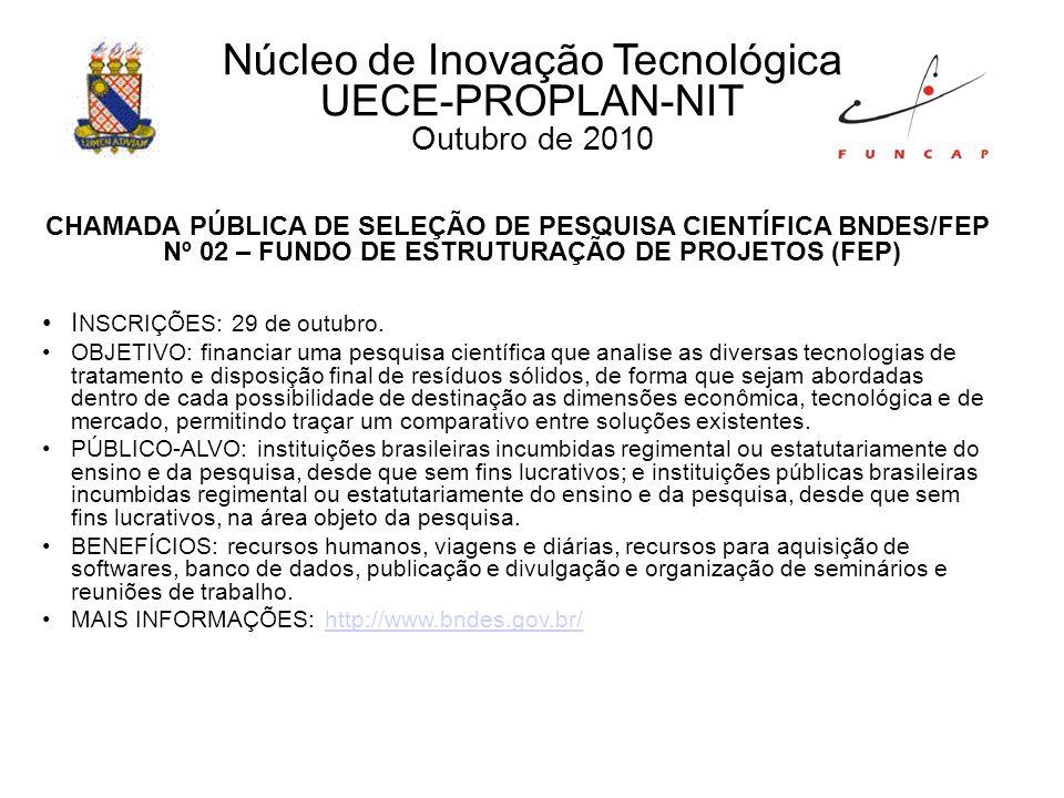 CHAMADA DE PROJETOS VIRTUALIZAÇÃO DE REDES E SERVIÇOS CTIC INSCRIÇÕES: até 10 de novembro de 2010.
