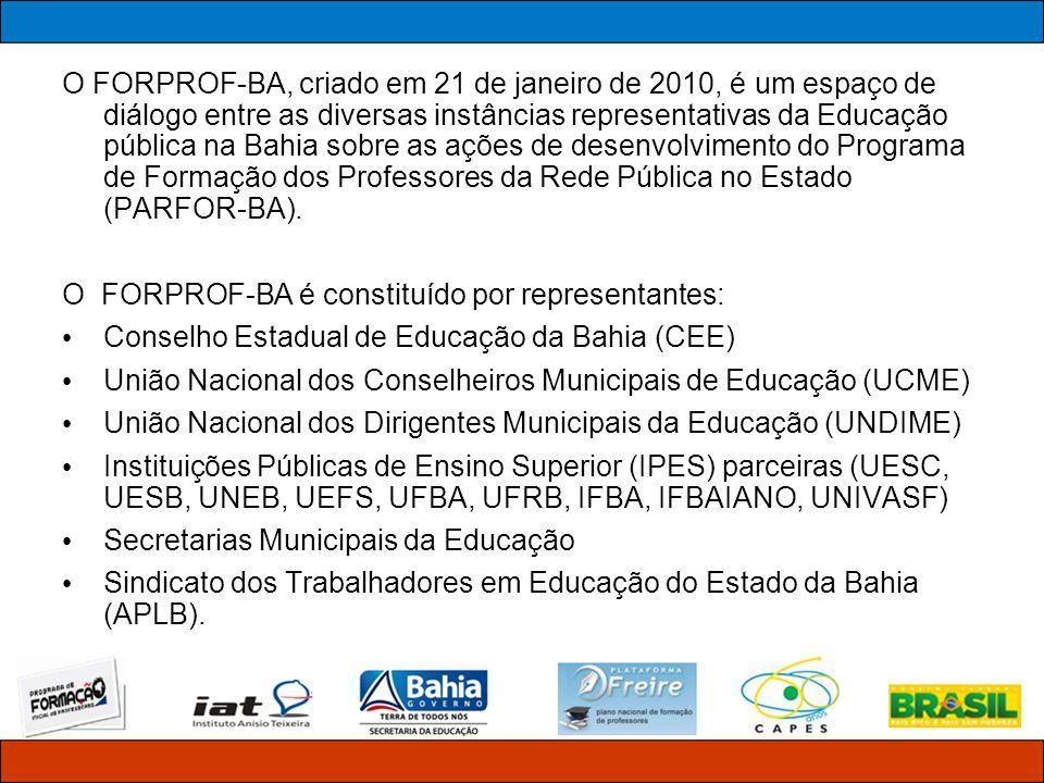 O FORPROF-BA, criado em 21 de janeiro de 2010, é um espaço de diálogo entre as diversas instâncias representativas da Educação pública na Bahia sobre