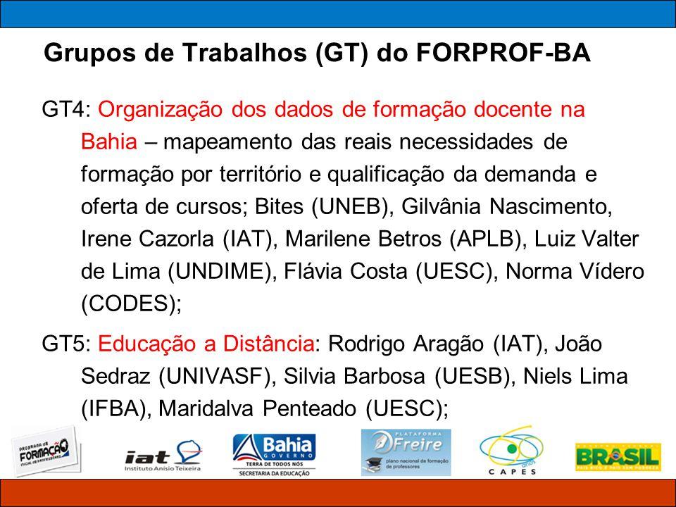 Grupos de Trabalhos (GT) do FORPROF-BA GT6: Acompanhamento dos cursos em andamento/política de permanência dos professores-cursistas: Jose Bites (UNEB), Marilene Betros (APLB), Tereza Vilaça (SUPROF), Maria Elisa Santos (UNEB), Alda Pepe (CEE), Nancy Vieira (UFBA), Celeste Castro (UNEB), Luiz Valter de Lima (UNDIME); GT7: Formação Continuada: Jeudy Aragão (IAT), Luiz Valter de Lima (UNDIME), Gilvânia Nascimento (UCME), Claudionor da Silva (UESB), Eni Bastos (SUPAV).