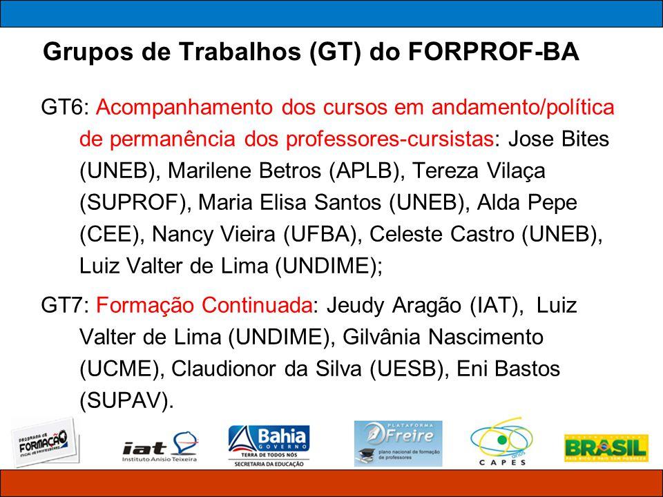 Grupos de Trabalhos (GT) do FORPROF-BA GT6: Acompanhamento dos cursos em andamento/política de permanência dos professores-cursistas: Jose Bites (UNEB