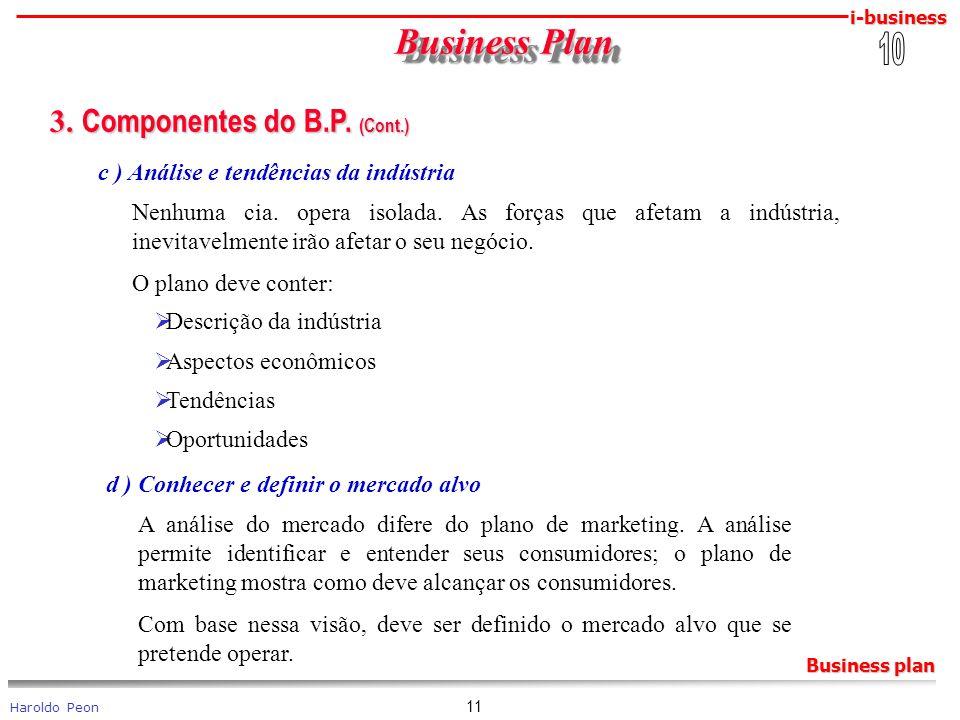 i-business Haroldo Peon Business plan 11 Business Plan Business Plan 3. Componentes do B.P. (Cont.) 3. Componentes do B.P. (Cont.) c ) Análise e tendê