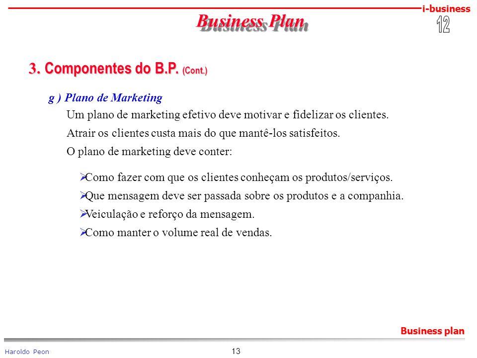 i-business Haroldo Peon Business plan 13 Business Plan Business Plan 3. Componentes do B.P. (Cont.) 3. Componentes do B.P. (Cont.) g ) Plano de Market