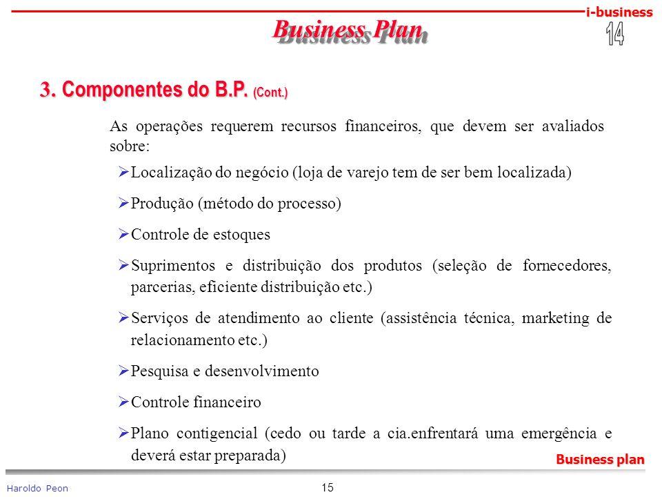 i-business Haroldo Peon Business plan 15 Business Plan Business Plan 3. Componentes do B.P. (Cont.) 3. Componentes do B.P. (Cont.) As operações requer