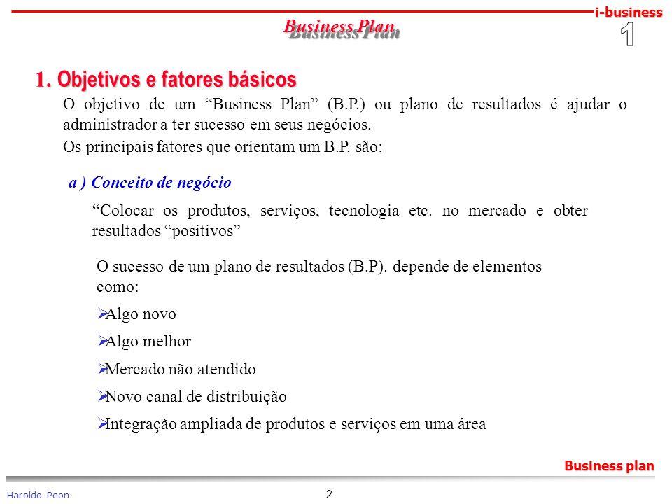 i-business Haroldo Peon Business plan 2 Business Plan 1. Objetivos e fatores básicos 1. Objetivos e fatores básicos O objetivo de um Business Plan (B.