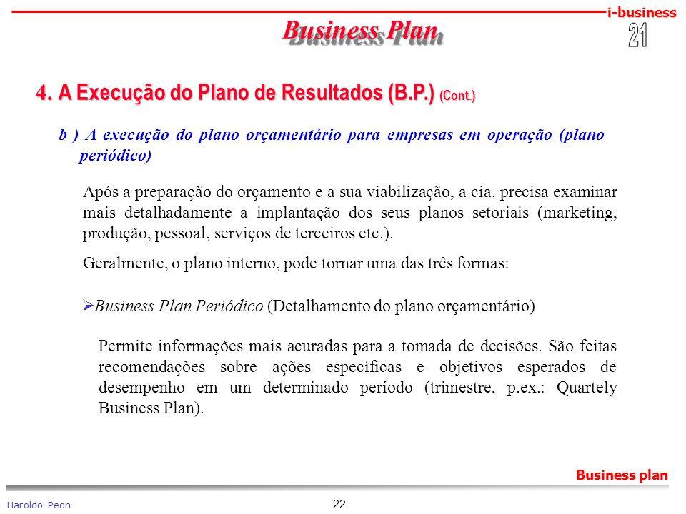 i-business Haroldo Peon Business plan 22 Business Plan Business Plan 4. A Execução do Plano de Resultados (B.P.) (Cont.) 4. A Execução do Plano de Res