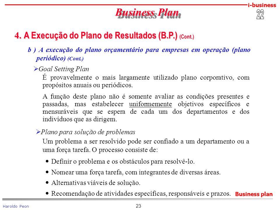 i-business Haroldo Peon Business plan 23 Business Plan Business Plan 4. A Execução do Plano de Resultados (B.P.) (Cont.) 4. A Execução do Plano de Res