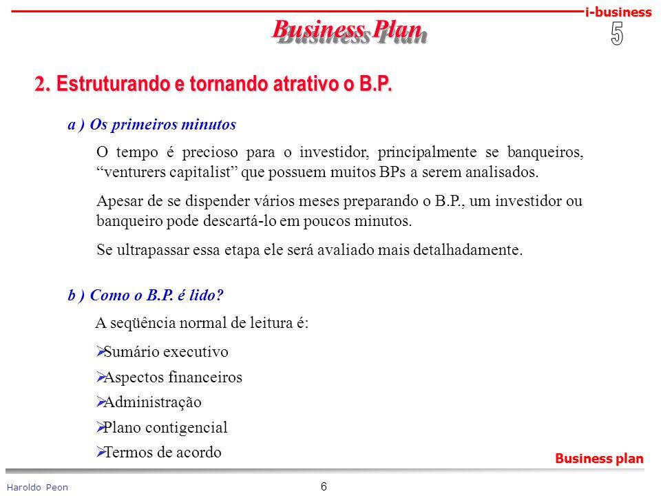i-business Haroldo Peon Business plan 6 Business Plan Business Plan 2. Estruturando e tornando atrativo o B.P. 2. Estruturando e tornando atrativo o B