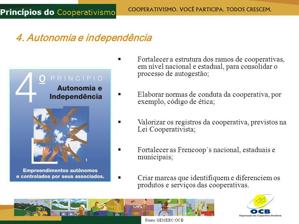 4. Autonomia e independência Fortalecer a estrutura dos ramos de cooperativas, em nível nacional e estadual, para consolidar o processo de autogestão;