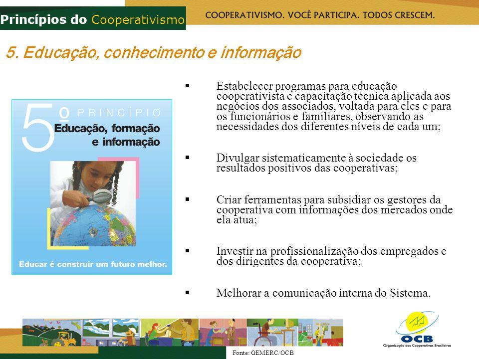 5. Educação, conhecimento e informação Estabelecer programas para educação cooperativista e capacitação técnica aplicada aos negócios dos associados,