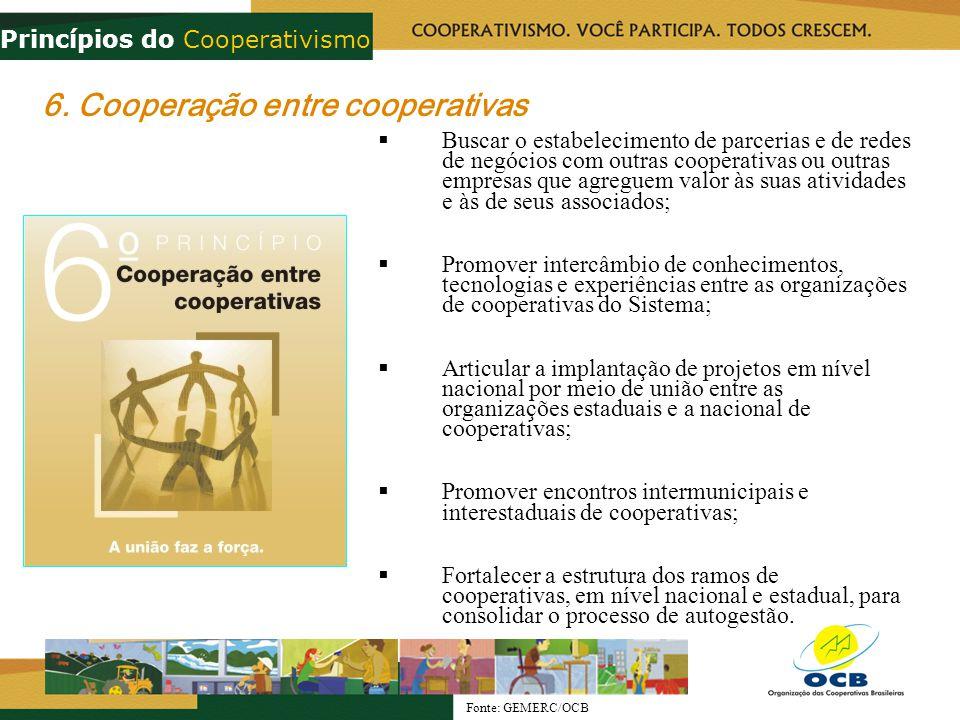 6. Cooperação entre cooperativas Buscar o estabelecimento de parcerias e de redes de negócios com outras cooperativas ou outras empresas que agreguem