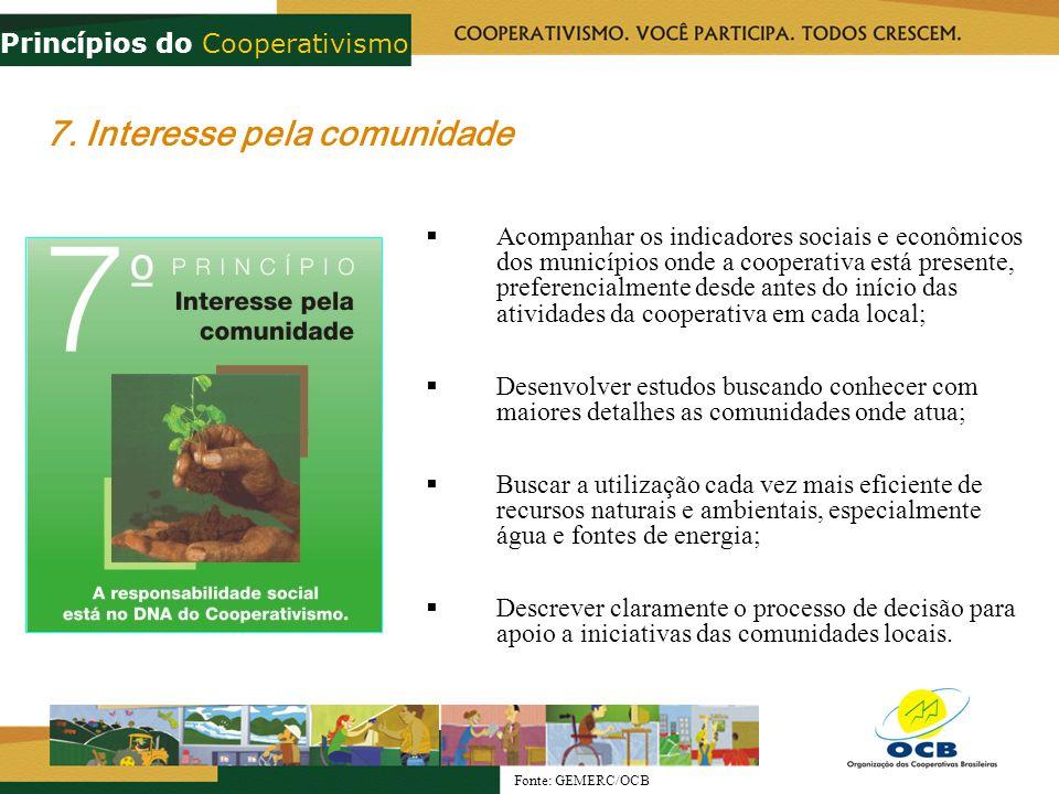 7. Interesse pela comunidade Acompanhar os indicadores sociais e econômicos dos municípios onde a cooperativa está presente, preferencialmente desde a