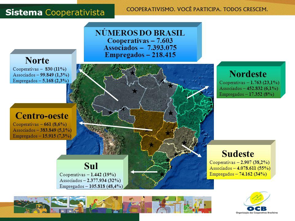 Nordeste Cooperativas – 1.763 (23,1%) Associados – 452.832 (6,1%) Empregados – 17.352 (8%) Sudeste Cooperativas – 2.907 (38,2%) Associados – 4.078.611 (55%) Empregados – 74.162 (34%) Sul Cooperativas – 1.442 (19%) Associados – 2.377.934 (32%) Empregados – 105.818 (48,4%) Centro-oeste Cooperativas – 661 (8,6%) Associados – 383.849 (5,1%) Empregados – 15.915 (7,3%) Norte Cooperativas – 830 (11%) Associados – 99.849 (1,3%) Empregados – 5.168 (2,3%) NÚMEROS DO BRASIL Cooperativas – 7.603 Associados – 7.393.075 Empregados – 218.415 Sistema Cooperativista