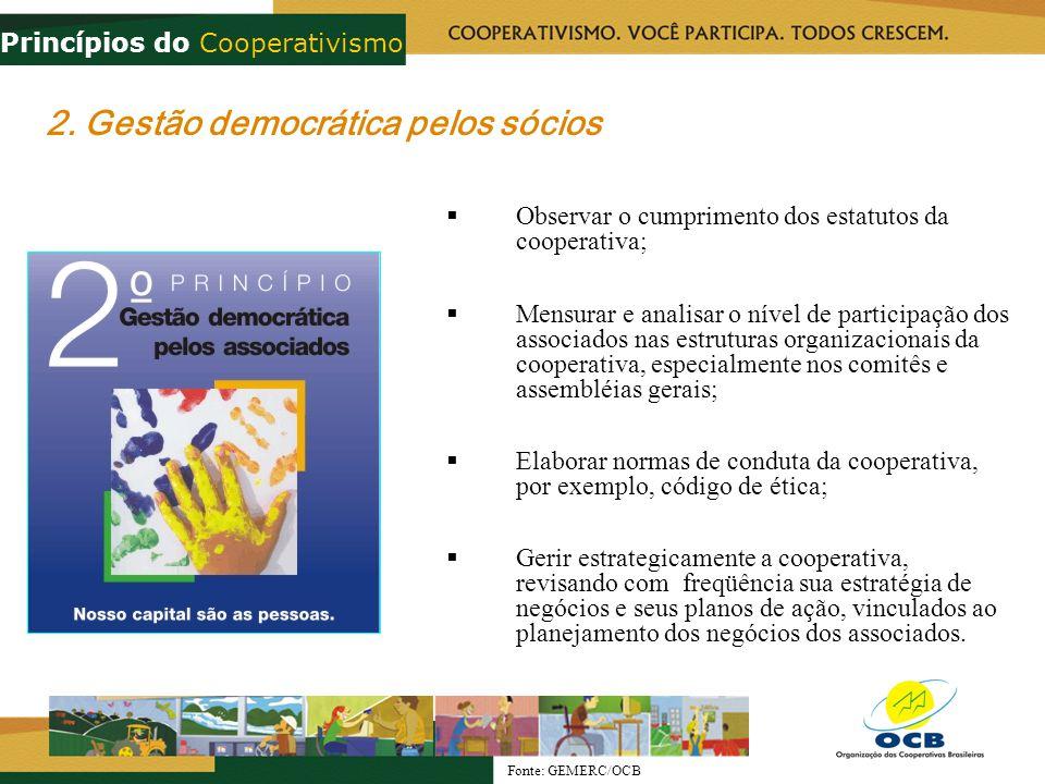 2. Gestão democrática pelos sócios Observar o cumprimento dos estatutos da cooperativa; Mensurar e analisar o nível de participação dos associados nas