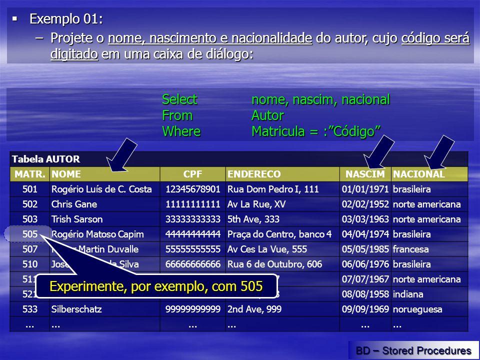 Tabela AUTOR MATR.NOMECPFENDERECONASCIMNACIONAL 501Rogério Luís de C.