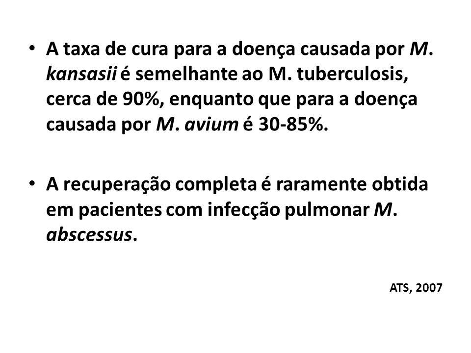 A taxa de cura para a doença causada por M. kansasii é semelhante ao M. tuberculosis, cerca de 90%, enquanto que para a doença causada por M. avium é