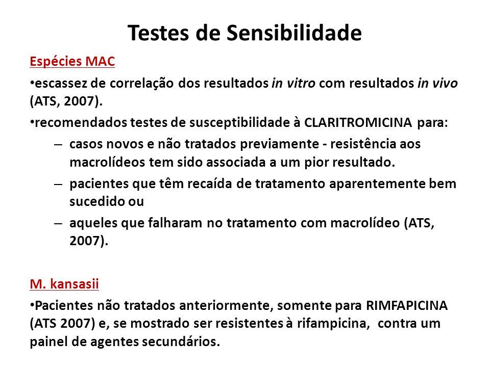 Testes de Sensibilidade Espécies MAC escassez de correlação dos resultados in vitro com resultados in vivo (ATS, 2007). recomendados testes de suscept