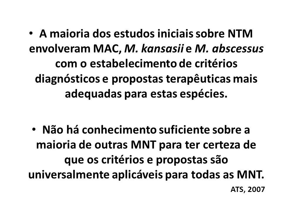 A maioria dos estudos iniciais sobre NTM envolveram MAC, M. kansasii e M. abscessus com o estabelecimento de critérios diagnósticos e propostas terapê