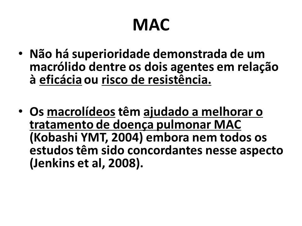 MAC Não há superioridade demonstrada de um macrólido dentre os dois agentes em relação à eficácia ou risco de resistência. Os macrolídeos têm ajudado