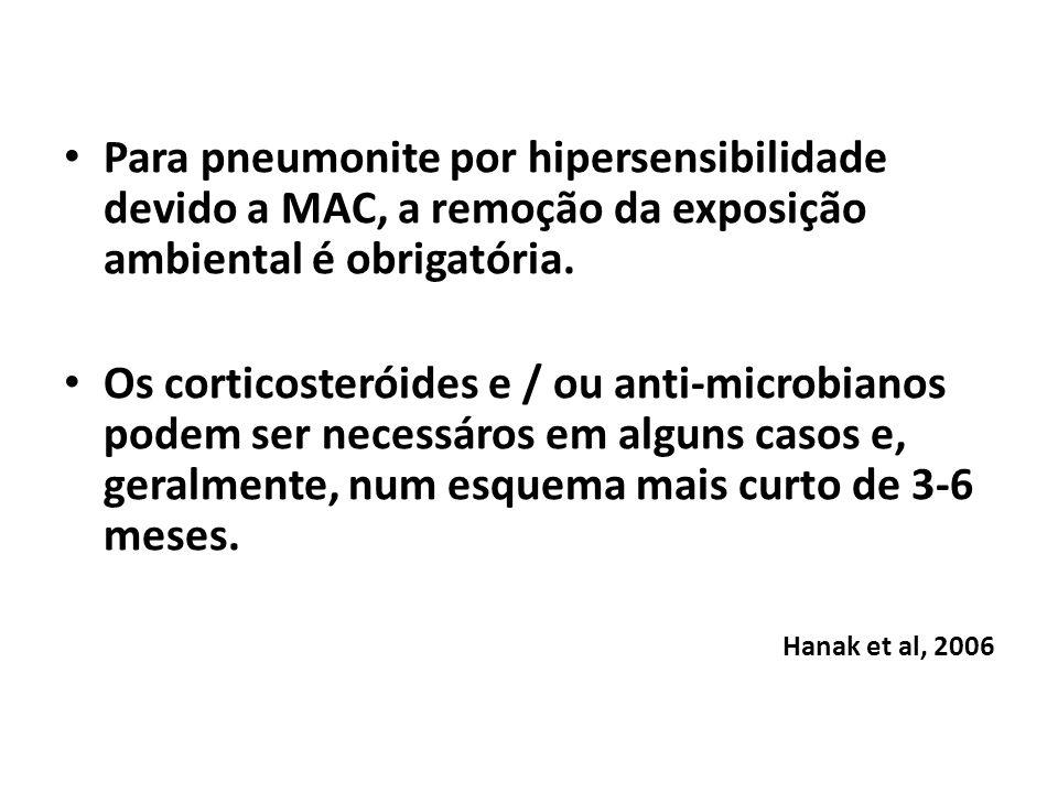 Para pneumonite por hipersensibilidade devido a MAC, a remoção da exposição ambiental é obrigatória. Os corticosteróides e / ou anti-microbianos podem