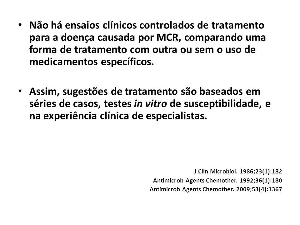 Não há ensaios clínicos controlados de tratamento para a doença causada por MCR, comparando uma forma de tratamento com outra ou sem o uso de medicame
