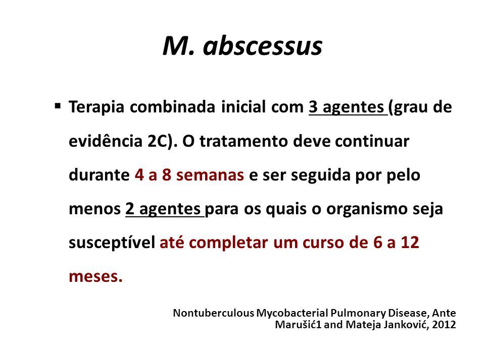 M. abscessus Terapia combinada inicial com 3 agentes (grau de evidência 2C). O tratamento deve continuar durante 4 a 8 semanas e ser seguida por pelo