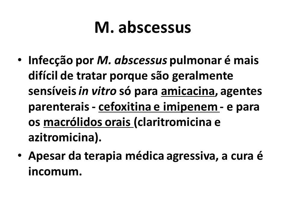 M. abscessus Infecção por M. abscessus pulmonar é mais difícil de tratar porque são geralmente sensíveis in vitro só para amicacina, agentes parentera