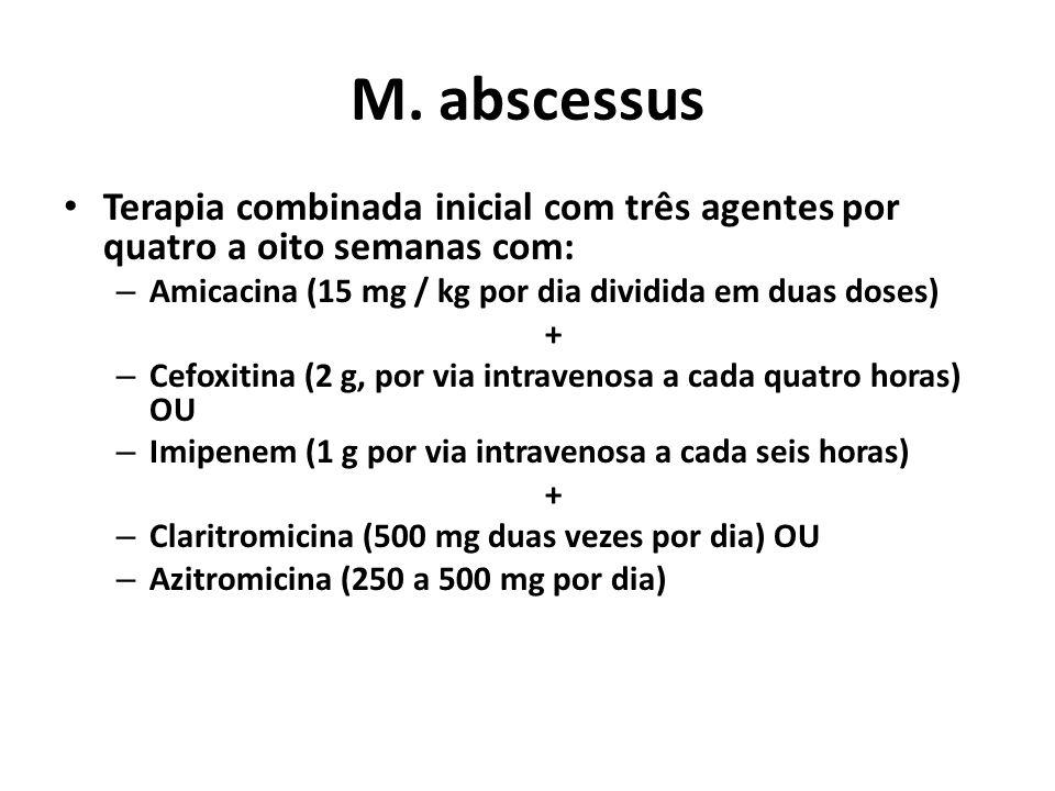 M. abscessus Terapia combinada inicial com três agentes por quatro a oito semanas com: – Amicacina (15 mg / kg por dia dividida em duas doses) + – Cef