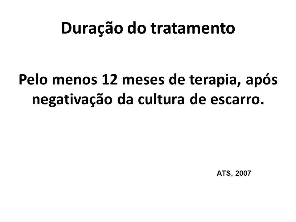 Duração do tratamento Pelo menos 12 meses de terapia, após negativação da cultura de escarro. ATS, 2007