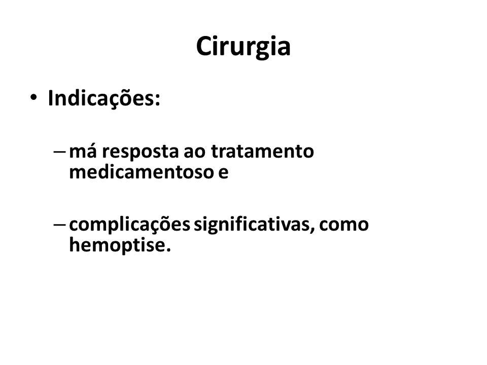 Cirurgia Indicações: – má resposta ao tratamento medicamentoso e – complicações significativas, como hemoptise.