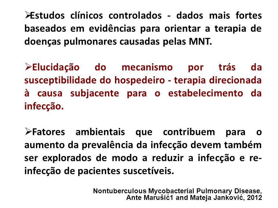Estudos clínicos controlados - dados mais fortes baseados em evidências para orientar a terapia de doenças pulmonares causadas pelas MNT. Elucidação d