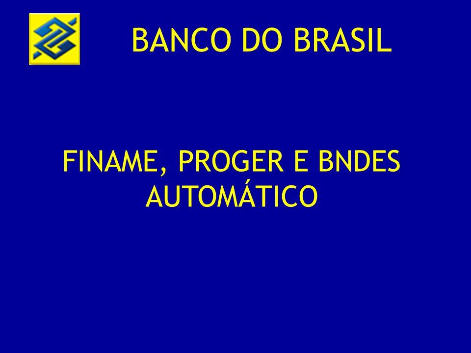 BANCO DO BRASIL FINAME, PROGER E BNDES AUTOMÁTICO