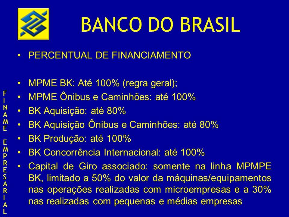 BANCO DO BRASIL PERCENTUAL DE FINANCIAMENTO MPME BK: Até 100% (regra geral); MPME Ônibus e Caminhões: até 100% BK Aquisição: até 80% BK Aquisição Ônib
