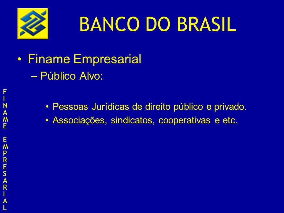 BANCO DO BRASIL Finame Empresarial –Público Alvo: Pessoas Jurídicas de direito público e privado. Associações, sindicatos, cooperativas e etc. FINAMEE