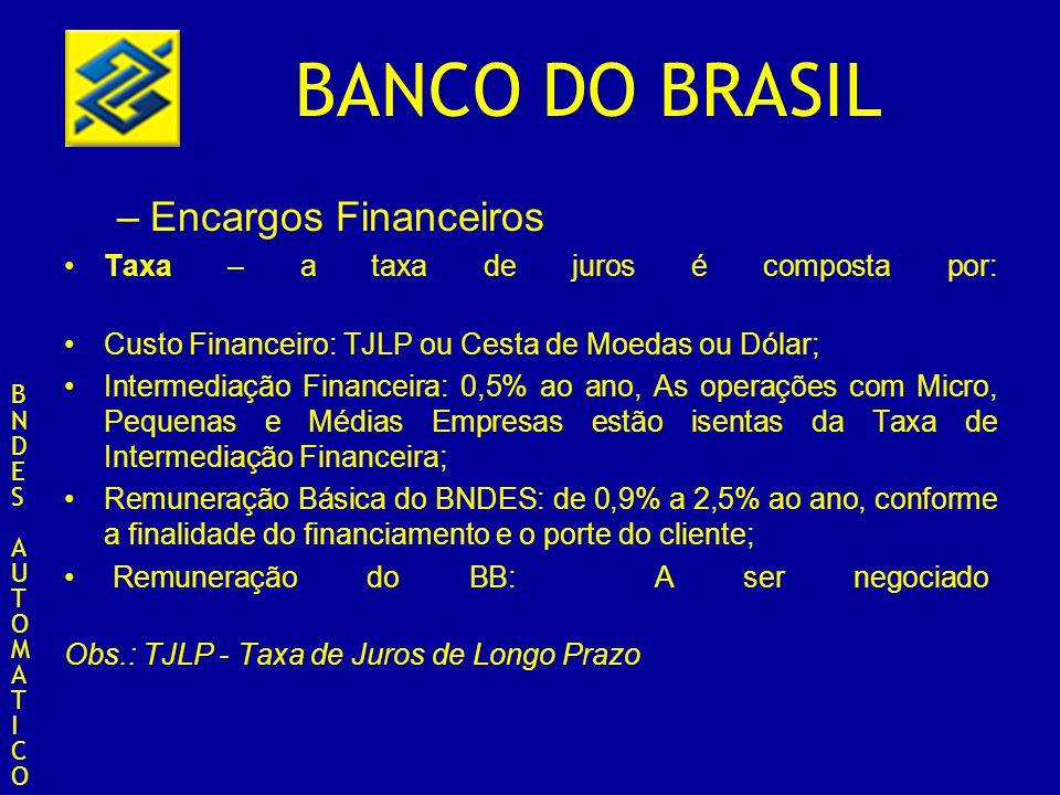BANCO DO BRASIL –Encargos Financeiros Taxa – a taxa de juros é composta por: Custo Financeiro: TJLP ou Cesta de Moedas ou Dólar; Intermediação Finance