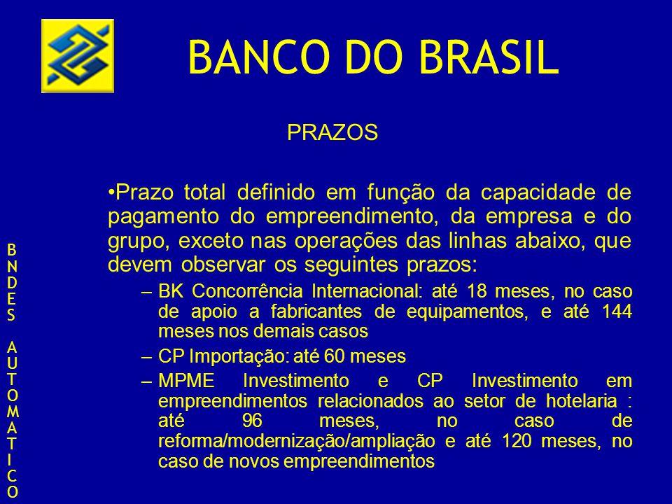 BANCO DO BRASIL PRAZOS Prazo total definido em função da capacidade de pagamento do empreendimento, da empresa e do grupo, exceto nas operações das li