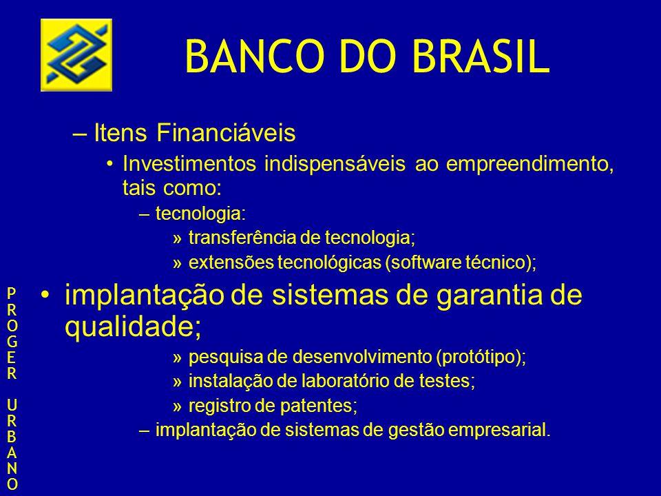 BANCO DO BRASIL –Itens Financiáveis Investimentos indispensáveis ao empreendimento, tais como: –tecnologia: »transferência de tecnologia; »extensões t